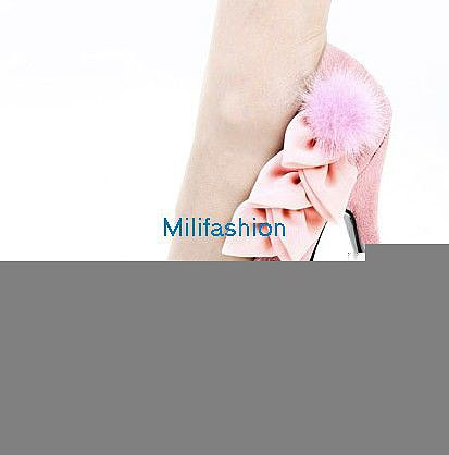 Pink hair lovely flower high heel shoes_High shoes_Fashion shoes_Mili fashion Trade Co.Ltd