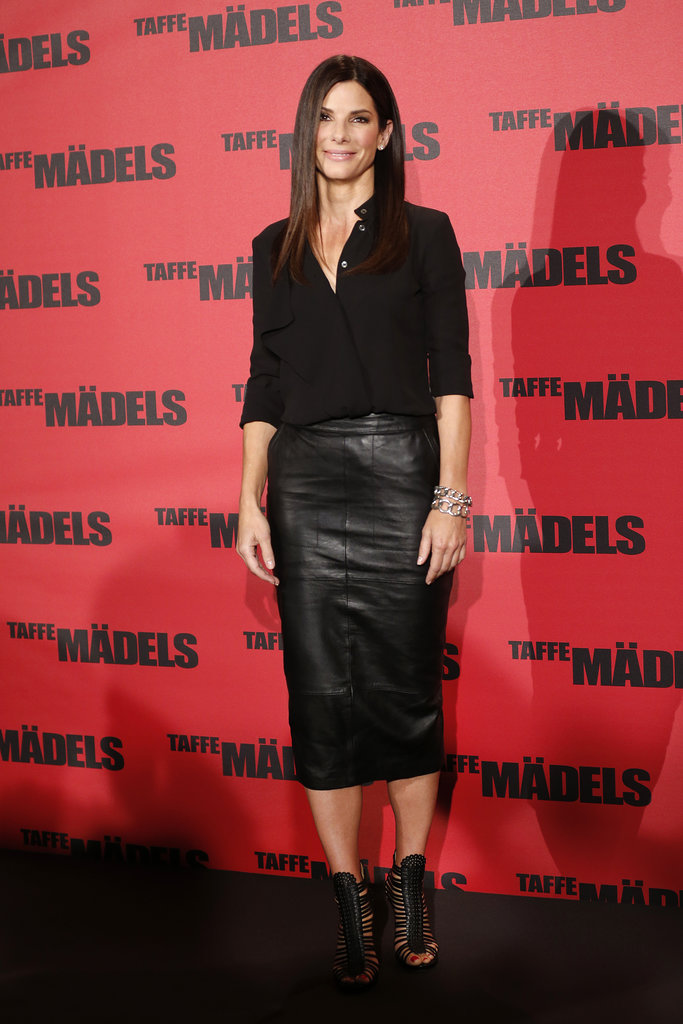 For the film's premiere in Berlin, Sandra went ultrasleek in a black leather pencil skirt and a silky button-down, then finished again with edgy footwear.