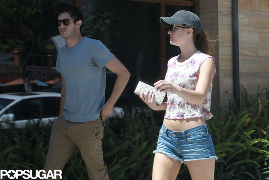 Leighton Meester wore short shorts for a breakfast date with Adam Brody.