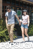 Adam Brody and Leighton Meester go to breakfast in LA.
