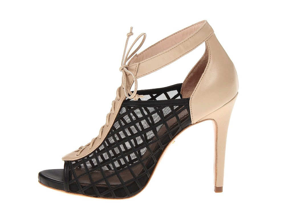 Can't decide whether black or nude is more practical? Have it both ways with Pour La Victoire's two-toned mesh and leather style ($228, originally $325).