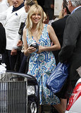 Sienna Miller struck a balance between dressy and laid back at a London wedding in June. Follow her lead by donning a fancy printed dress, but keep your tresses perfectly tousled.