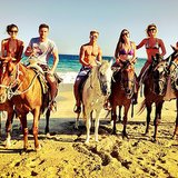 Derek Hough went horseback riding on the beach with his sister Julianne and their friends Nina Dobrev and Topher Grace. Source: Instagram user derekhough