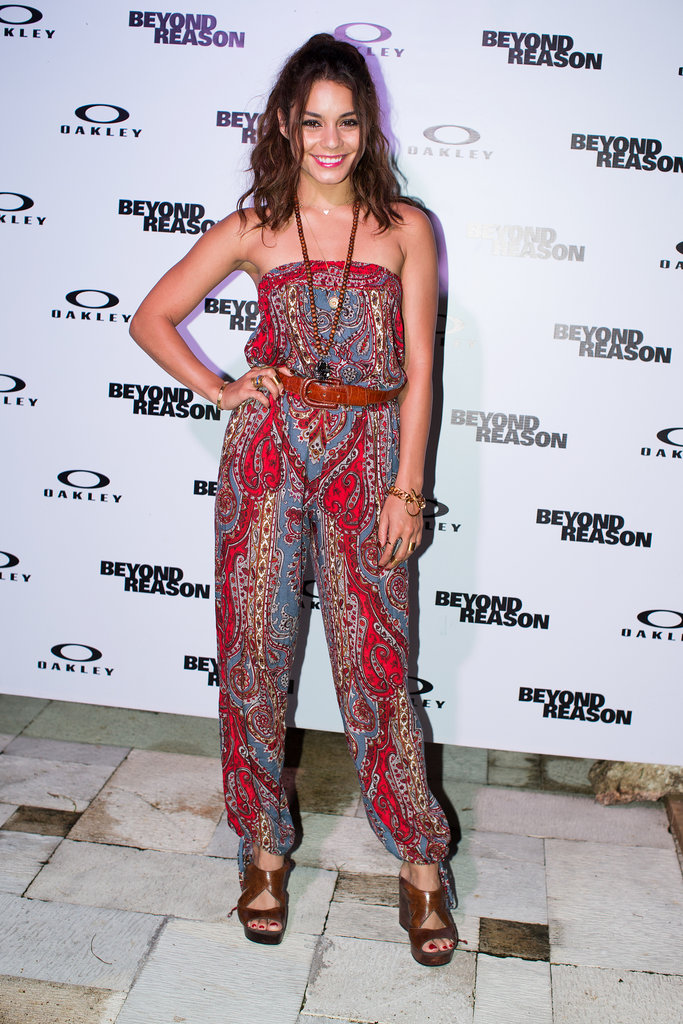 Vanessa Hudgens stuck to her bohemian aesthetic in a strapless printed jumpsuit at the Oakley Learn to Ride event in Bali.