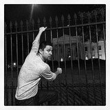 Channing Tatum pretended(?) to climb the White House gates while promoting his new film in Washington DC. Source: Instagram user channingtatum