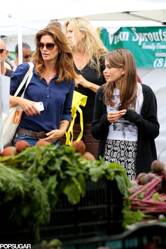 Cindy Crawford went shopping with her daughter, Kaia Gerber, at a farmers market in Malibu, CA.