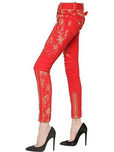 Lurex Embroidered Cotton Denim Jeans
