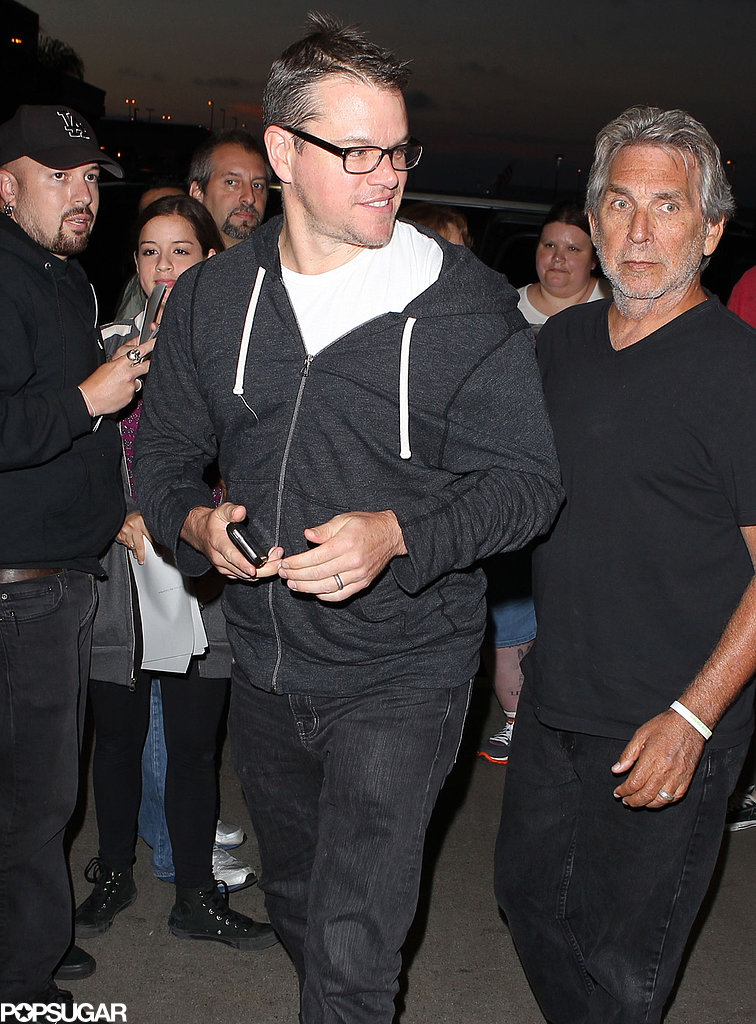 Matt Damon jetted out of LAX after greeting fans.