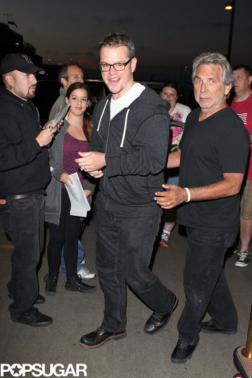 Matt Damon smiled as he headed into LAX.