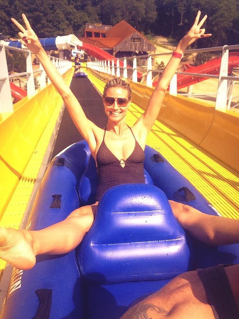 Heidi Klum took a ride on a waterslide during a Summer trip. Source: Twitter user heidiklum
