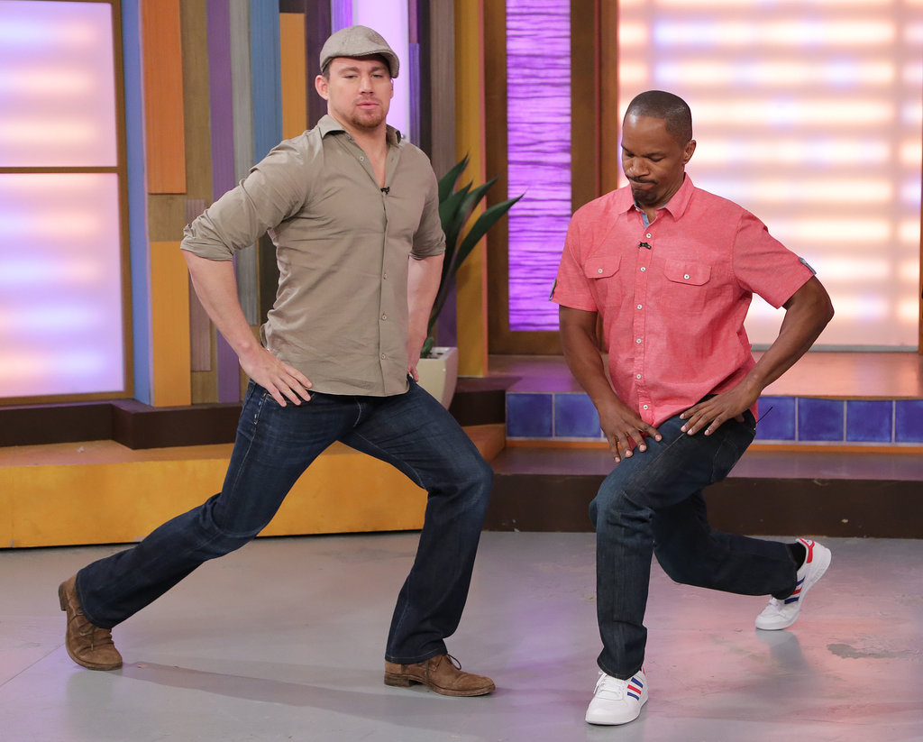 Channing Tatum and Jamie Foxx stretched it out before showing off their dance moves on live TV in Miami in June.
