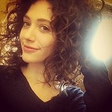 "Emmy Rossum hit the set rocking her ""natural old-school"" curly hair. Source: Instagram user emmyrossum"