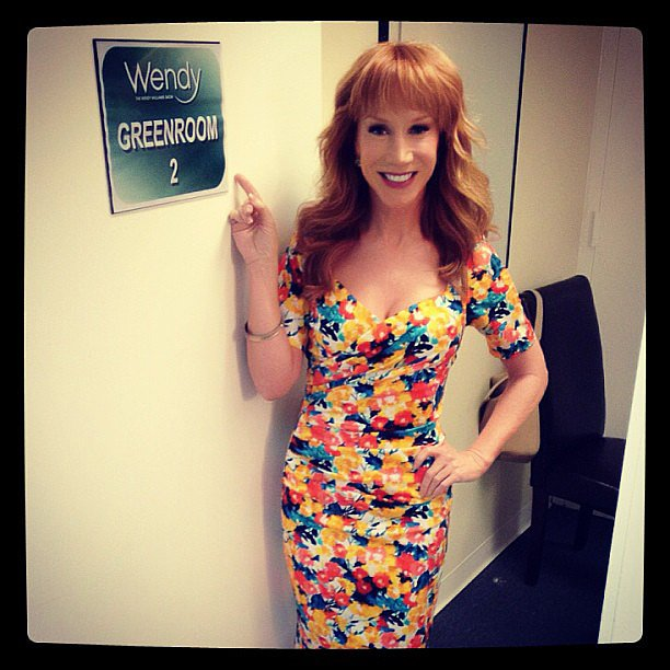 Kathy Griffin got dolled up in a floral dress for her appearance on The Wendy Williams Show. Source: Instagram user kathygriffin