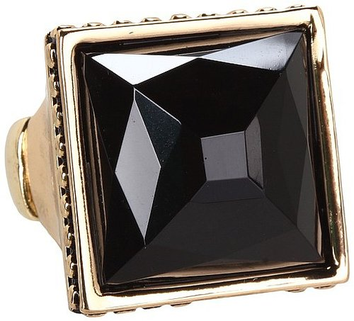 GUESS - Large Square Stone Ring (Gold/Jet) - Jewelry