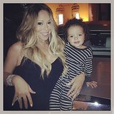 "Mariah Carey posted a photo with her ""world traveler to-be,"" son Moroccan. Source: Instagram user mariahcarey"