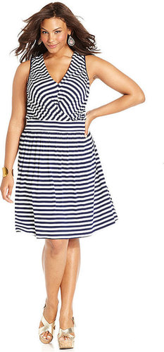 Spense Plus Size Dress, Sleeveless Striped A-Line