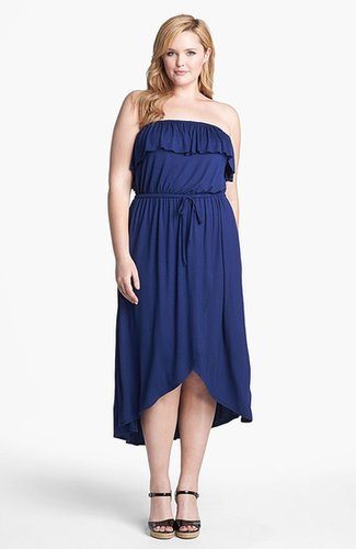 Sweet Pea by Stacy Frati Ruffled High/Low Jersey Dress (Plus Size)