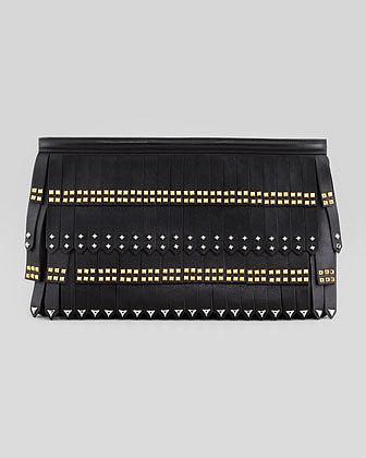 Prada Large Stud-Fringe Zip Clutch Bag, Black