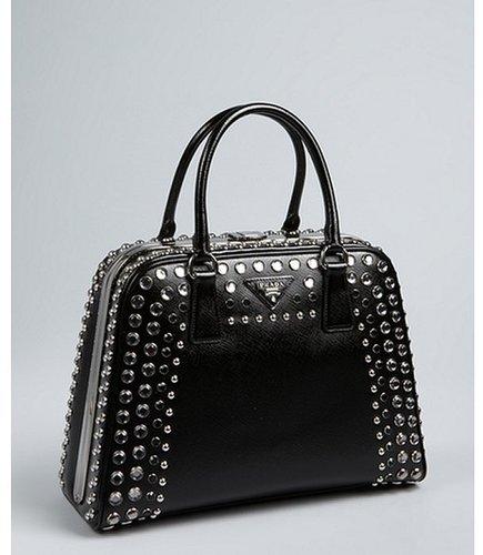 Prada black saffiano patent leather jeweled bowler bag