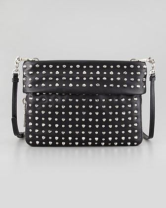 Prada Soft Calf Studded Crossbody Bag, Black