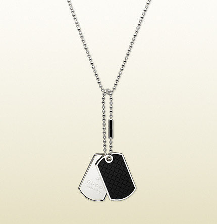 Dog Tag Necklace With Diamante Pattern Motif.