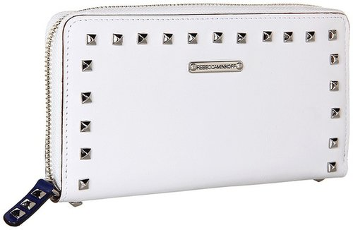 Rebecca Minkoff - Luma Large Zip Wallet With Studs (White) - Bags and Luggage