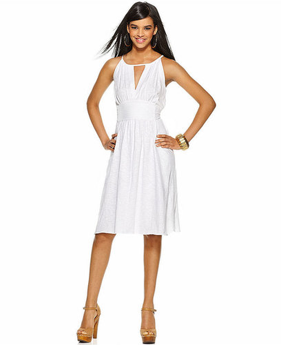 Bar III Dress, Sleeveless Scoop-Neck Keyhole A-Line