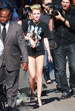 Miley Cyrus wore a Tupac t-shirt while making her way to a taping for Jimmy Kimmel Live!