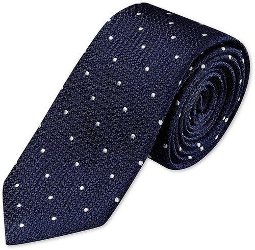 Navy & white textured spot woven narrow tie