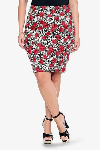 Retro Chic By Torrid - Leopard & Rose Pencil Skirt