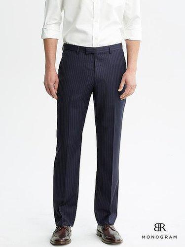 BR Monogram Navy Pinstripe Wool Suit Trouser
