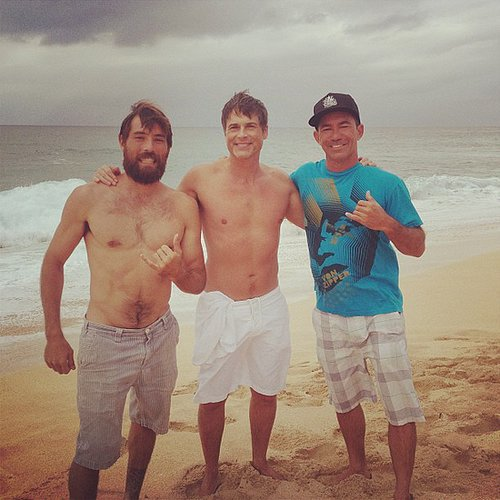 Rob Lowe hit the beach with two pals. Source: Instagram user rhl64