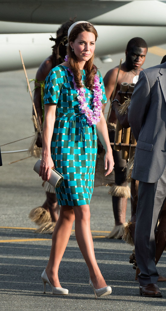 Kate Middleton got lei'd after she arrived at the Solomon Islands with Prince William in September 2012.