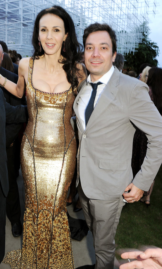 Jimmy Fallon posed with the cohost of the event L'Wren Scott.