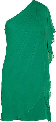 Badgley Mischka Draped textured-chiffon dress