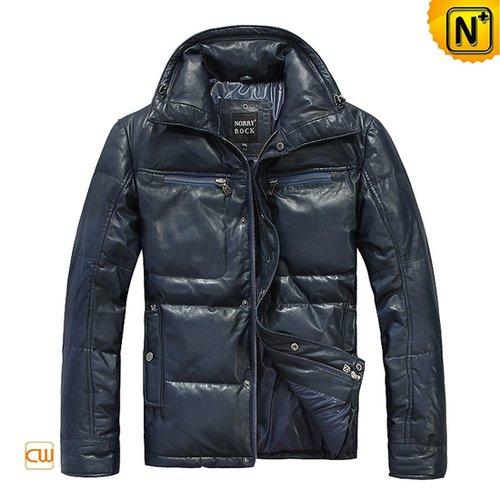 Blue Leather Down Jacket CW874281 - cwmalls.com