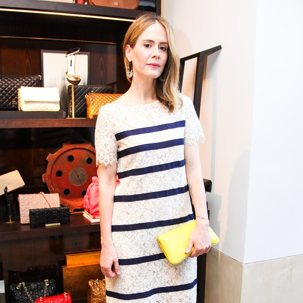 American Horror Story's Sarah Paulson kept her look simple with barely-there eyeliner and glossy pink lips.