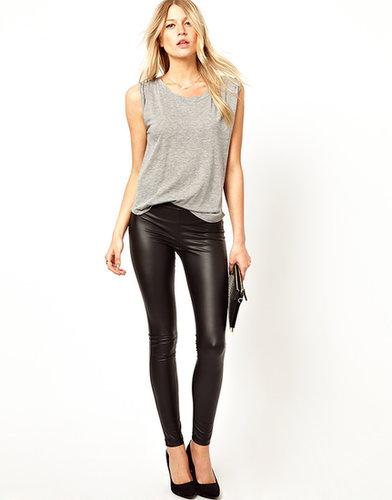 Mango Leather Look Leggings