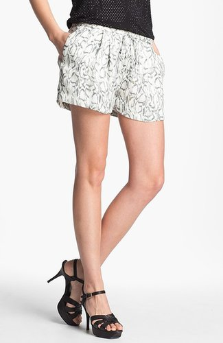 Haute Hippie Print Silk Drawstring Shorts