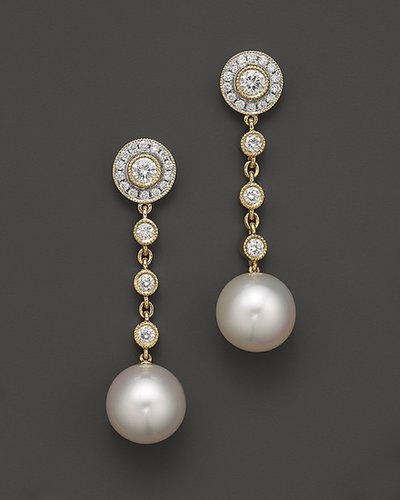 Tara Pearls 18K Yellow Gold Natural Color White South Sea Cultured Pearl and Diamond Earrings