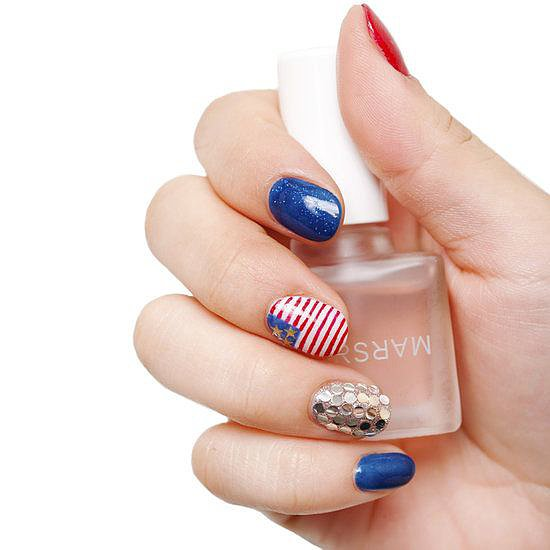 Independence Day is just around the corner, and we're getting in the mood with this festive, patriotic nail art. Perhaps our Pinterest followers are planning to re-create the design on their day off?  Source: MARS the Salon
