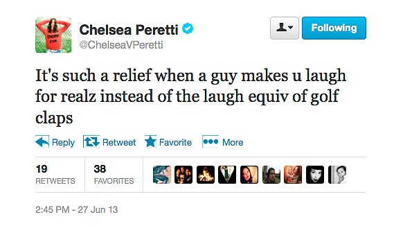 @ChelseaVPeretti appreciates a legitimately funny guy.