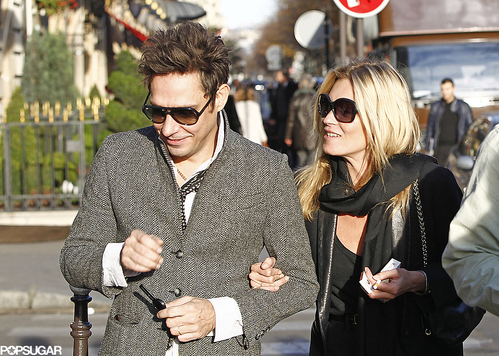 Kate Moss held on to Jamie Hince as the couple made their way through Paris in November 2011.