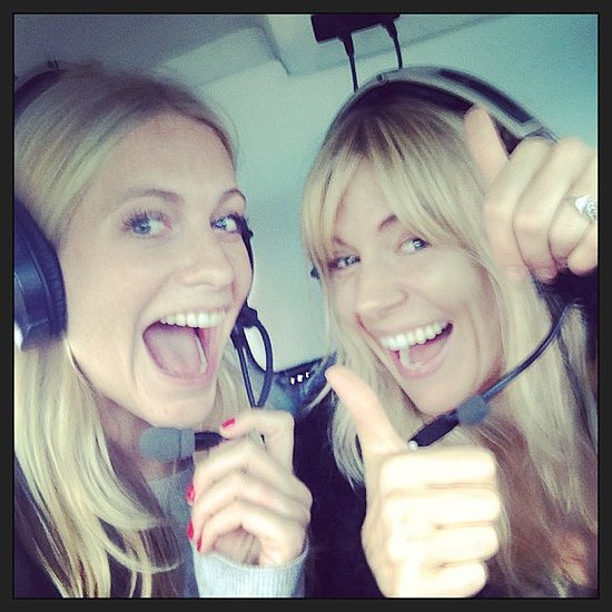 Poppy Delevingne and Sienna Miller arrived to the festival by helicopter. Source: Instagram user poppydelevingne