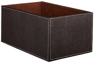 John Lewis Faux Leather Fixed Side Box, Brown