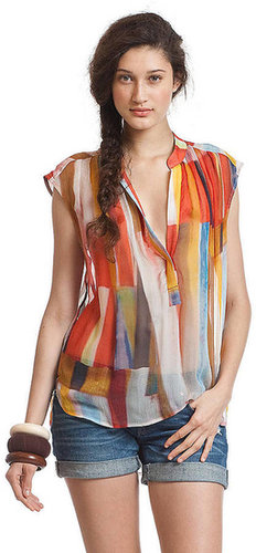 PLENTY BY TRACY REESE Sleeveless Multi-Colored Silk Blouse