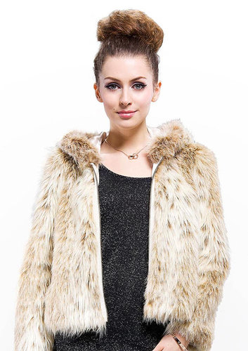 quality fashion apricot faux wolf fur woman coat online free shipping