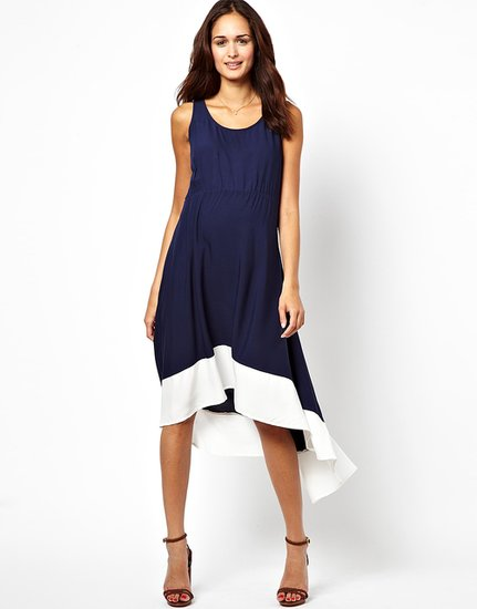 High-low hemlines are a hot trend in the fashion world right now, and the flattering cut of New Look Maternity's Panelled Dip Hem Dress ($34) makes for easy one-piece dressing throughout your pregnancy.