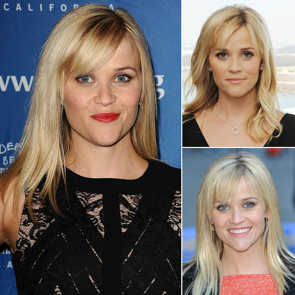 Who: Reese Witherspoon The look: Choppy, sideswept bangs Sometimes they're more prominent than other times, but Reese's bangs are now a standard part of her hairstyle. Ladies with heart-shaped faces, take note: this style of bangs helps balance out a prominent chin like Reese's.