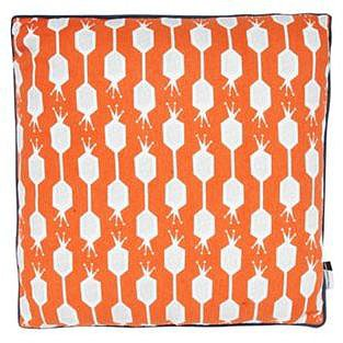 Orange geometric canvas cushion
